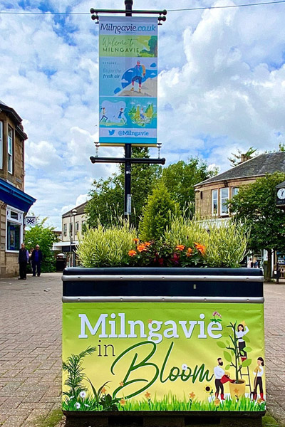 Milngavie Stations Road with town branding