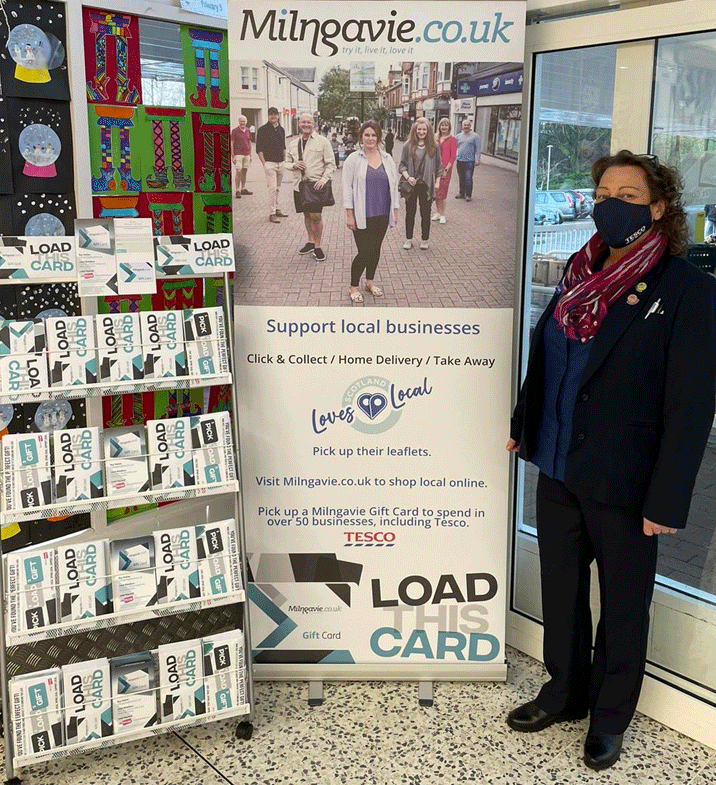 Loadthiscard.com stand at the entrance to Tesco in Milngavie, to support local businesses during the COVID-19 pandemic